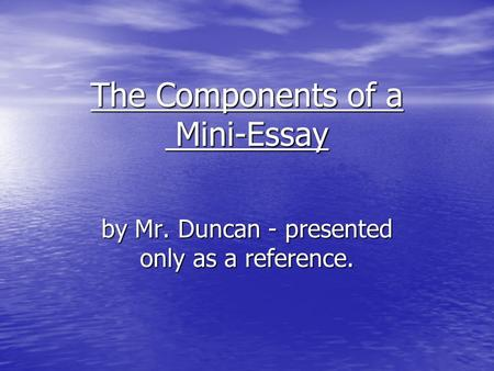 Well written short essays