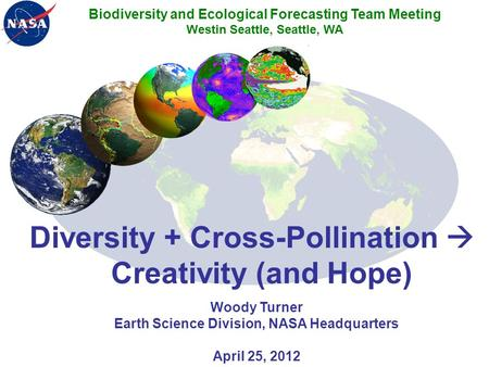 Diversity + Cross-Pollination  Creativity (and Hope) Woody Turner Earth Science Division, NASA Headquarters April 25, 2012 Biodiversity and Ecological.