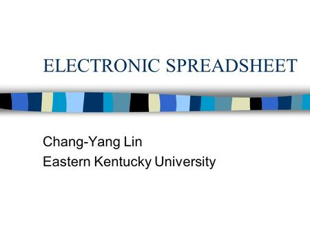ELECTRONIC SPREADSHEET Chang-Yang Lin Eastern Kentucky University.