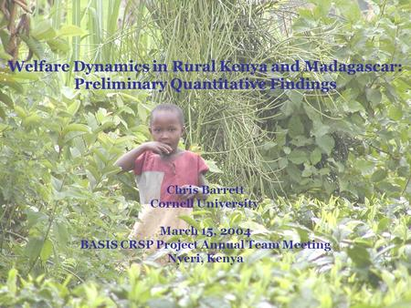 Welfare Dynamics in Rural Kenya and Madagascar: Preliminary Quantitative Findings Chris Barrett Cornell University March 15, 2004 BASIS CRSP Project Annual.