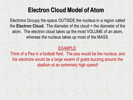 Electrons Occupy the space OUTSIDE the nucleus in a region called the Electron Cloud. The diameter of the cloud = the diameter of the atom. The electron.