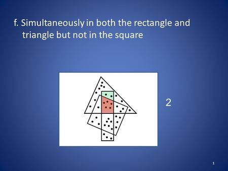F. Simultaneously in both the rectangle and triangle but not in the square 1 2.
