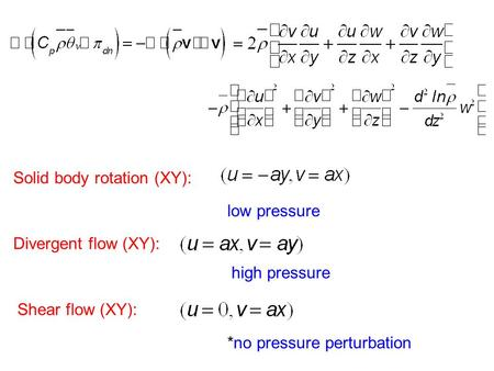 Solid body rotation (XY): Divergent flow (XY): Shear flow (XY): low pressure high pressure *no pressure perturbation.