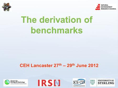 CEH Lancaster 27 th – 29 th June 2012. What is a benchmark? Why are benchmarks needed? How are benchmarks derived? How are benchmarks used?