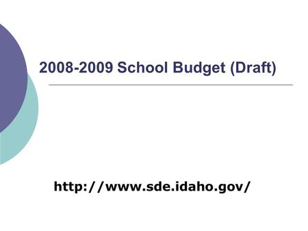 2008-2009 School Budget (Draft)