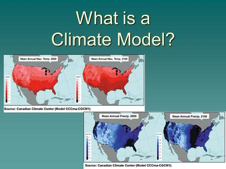 What is a Climate Model?. Weather Model Computer Model of Earth System  A mathematical formulation of how the system works implemented in a computer.