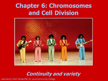 Continuity and variety Lectures by Mark Manteuffel, St. Louis Community College Chapter 6: Chromosomes and Cell Division Insert new photo (Jackson 5)