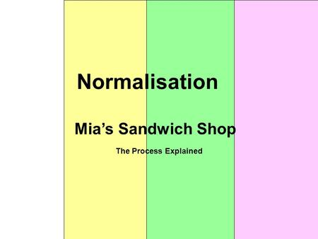 Normalisation Mia's Sandwich Shop The Process Explained.