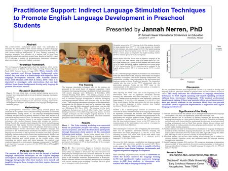 Practitioner Support: Indirect Language Stimulation Techniques to Promote English Language Development in Preschool Students Research Team: Drs. Carolyn.