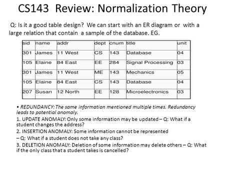 CS143 Review: Normalization Theory Q: Is it a good table design? We can start with an ER diagram or with a large relation that contain a sample of the.