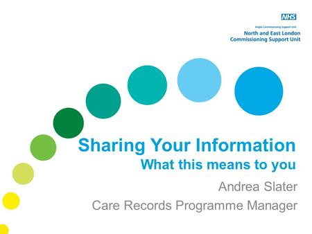 Sharing Your Information What this means to you Andrea Slater Care Records Programme Manager.