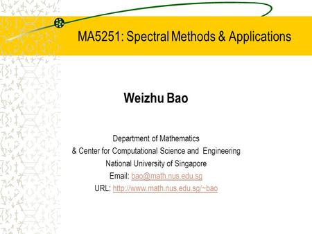 MA5251: Spectral Methods & Applications