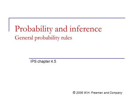 Probability and inference General probability rules IPS chapter 4.5 © 2006 W.H. Freeman and Company.