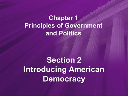 Chapter 1 Principles of Government and Politics Section 2 Introducing American Democracy.