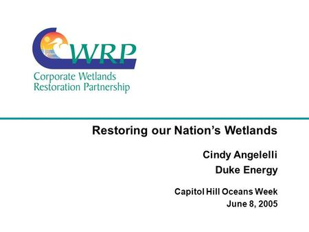 Restoring our Nation's Wetlands Cindy Angelelli Duke Energy Capitol Hill Oceans Week June 8, 2005.
