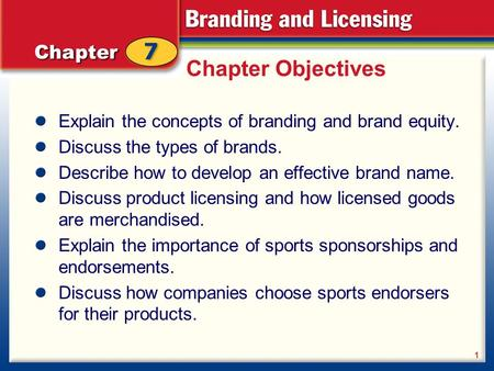 Chapter Objectives Explain the concepts of branding and brand equity. Discuss the types of brands. Describe how to develop an effective brand name. Discuss.