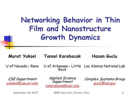 September 25, 2007IEEE Nano-Net, Catania, Italy1 Networking Behavior in Thin Film and Nanostructure Growth Dynamics Tansel Karabacak U of Arkansas – Little.
