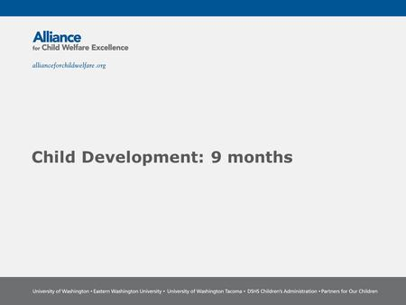 Child Development: 9 months. The Power of Partnership The Alliance for Child Welfare Excellence is Washington's first comprehensive statewide training.