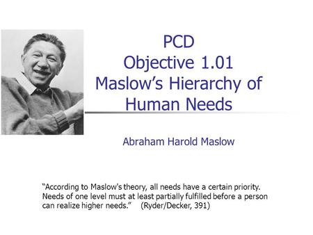 """According to Maslow's theory, all needs have a certain priority"