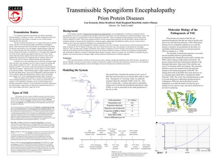 Transmissible Spongiform Encephalopathy Prion Protein Diseases Lisa Kennedy, Dylan Bradford, Madi Hoagland Henefield, Anders Ohman Advisor: Dr. Todd Livdahl.