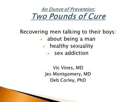 Recovering men talking to their boys:  about being a man  healthy sexuality  sex addiction Vic Vines, MD Jes Montgomery, MD Deb Corley, PhD.