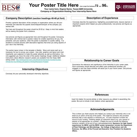 Your Poster Title Here (Use Large Font between 72 and 96 Pt) Your name here, Degree Name, Texas A&M University Company or Organization Hosting Your Internship.