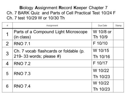 Biology Assignment Record Keeper Chapter 7 Ch. 7 BARK Quiz and Parts of Cell Practical Test 10/24 F Ch. 7 test 10/29 W or 10/30 Th #AssignmentDue DateStamp.
