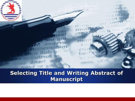 Company LOGO Selecting Title and Writing Abstract of Manuscript.