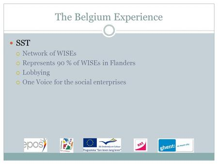 The Belgium Experience SST  Network of WISEs  Represents 90 % of WISEs in Flanders  Lobbying  One Voice for the social enterprises.