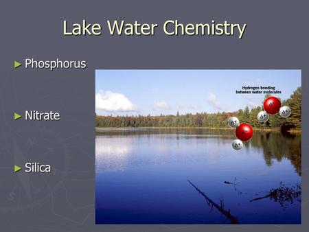 Lake Water Chemistry ► Phosphorus ► Nitrate ► Silica.