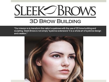 """Our mission is to transform the nation's eyebrows with the use of 3D brow building and sculpting. Sleek Brows is not simply ""eyebrow extensions"" it is."