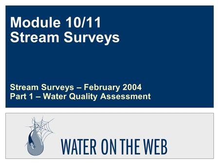 Module 10/11 Stream Surveys Stream Surveys – February 2004 Part 1 – Water Quality Assessment.