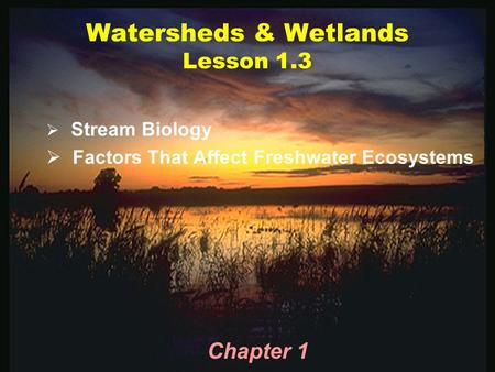 Watersheds & Wetlands Lesson 1.3  Stream Biology  Factors That Affect Freshwater Ecosystems Chapter 1.