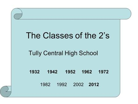 The Classes of the 2's Tully Central High School 1932 1942 1952 1962 1972 1982 1992 2002 2012.