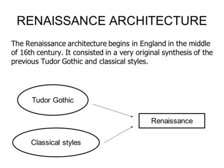 RENAISSANCE ARCHITECTURE The Renaissance architecture begins in England in the middle of 16th century. It consisted in a very original synthesis of the.