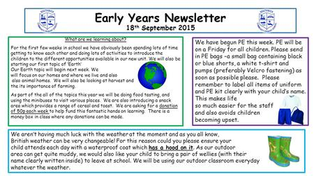 Early Years Newsletter 18 th September 2015 What are we learning about? For the first few weeks in school we have obviously been spending lots of time.