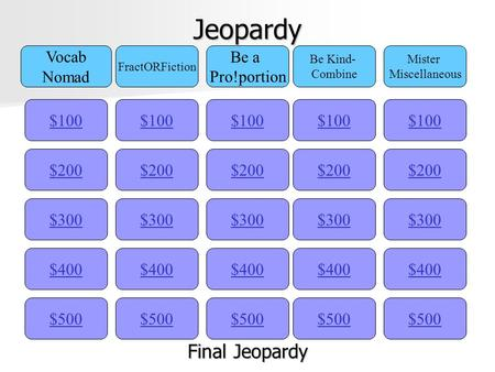 Jeopardy $100 Vocab Nomad FractORFiction Be a Pro!portion Be Kind- Combine Mister Miscellaneous $200 $300 $400 $500 $400 $300 $200 $100 $500 $400 $300.