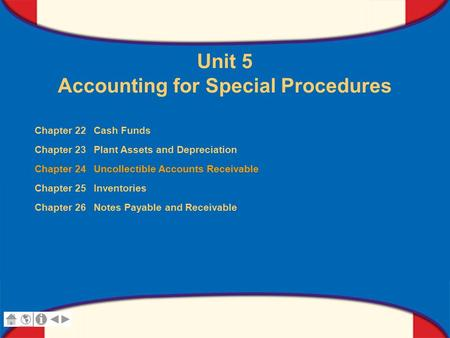 0 Glencoe Accounting Unit 5 Chapter 24 Copyright © by The McGraw-Hill Companies, Inc. All rights reserved. Unit 5 Accounting for Special Procedures Chapter.