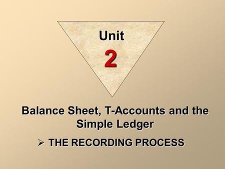 Balance Sheet, T-Accounts and the Simple Ledger  THE RECORDING PROCESS Unit 2.
