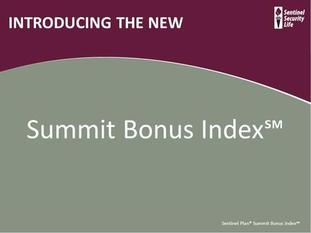 Sentinel Plan® Summit Bonus Index℠ INTRODUCING THE NEW Summit Bonus Index℠