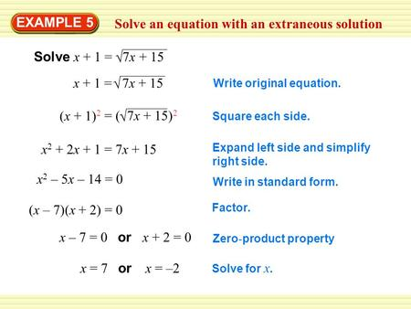 Solve an equation with an extraneous solution EXAMPLE 5  Solve x + 1 = 7x + 15  x + 1 = 7x + 15 (x + 1) 2  = ( 7x + 15) 2 x 2 + 2x + 1 = 7x + 15 x 2.