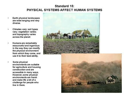 Standard 15: PHYSICAL SYSTEMS AFFECT HUMAN SYSTEMS Earth physical landscapes are wide-ranging and very diverse. Climates vary; soil types vary; vegetation.