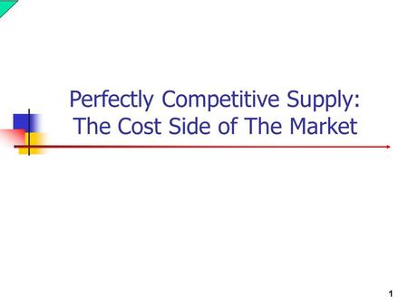 1 Perfectly Competitive Supply: The Cost Side of The Market.