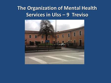 The Organization of Mental Health Services in Ulss – 9 Treviso.