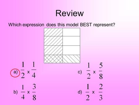Review Which expression does this model BEST represent? a) x c) x b) xd) x.