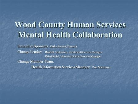 Wood County Human Services Mental Health Collaboration Executive Sponsors: Kathy Roetter, Director Change Leader: Randall Ambrosius, Treatment Services.