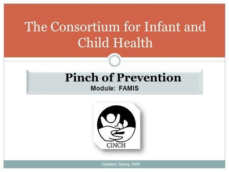 The Consortium for Infant and Child Health Pinch of Prevention Module: FAMIS Pinch of Prevention Module: FAMIS Updated: Spring 2009.