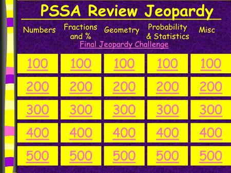 PSSA Review Jeopardy Numbers Fractions and % Geometry Probability & Statistics Misc 100 200 300 400 500 100 200 300 400 500 100 200 300 400 500 100 200.