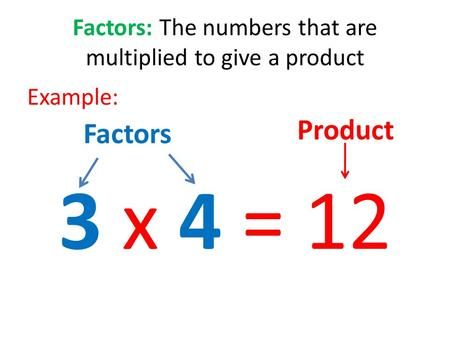 Factors: The numbers that are multiplied to give a product Example: 3 x 4 = 12 Factors Product.