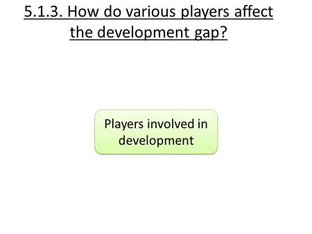 5.1.3. How do various players affect the development gap? Players involved in development.